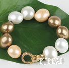 high quality egg shape multi color sea shell beads bracelet with gold plated clasp under $30