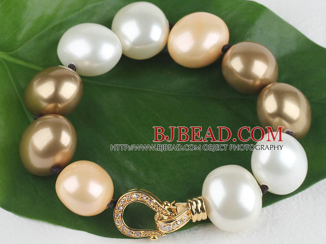 high quality egg shape multi color sea shell beads bracelet with gold plated clasp
