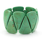 Big Style Triangle Shape Grass Green Color Turquoise Stretch Bangle Bracelet