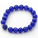 10mm Dark Blue Color Cats Eye and Rhinestone Beaded Stretch Bracelet