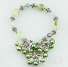 pearl and green rutilated quartz bracelet