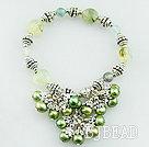 pearl and green rutilated quartz bracelet
