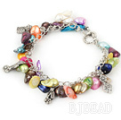 irregular shape dyed colorful pearl bracelet with toggle clasp