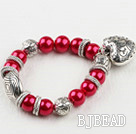 red acrylic pearl elastic bracelet with heart charms