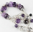elastic natural amethyst bracelet with lovely charms