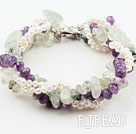 Four Strands White Freshwater and Amethyst and Prehnite Bracelet