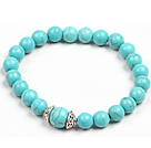 Simple Style Single Strand Turquoise Bead Stretch/ Elastic Bracelet