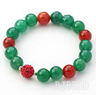 Green Series 10mm Green Agate and Carnelian and Rhinestone Beaded Stretch Bracelet under $ 40