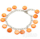11mm orange round shell bracelet with extendable chain