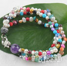 multi strand colorful 3-4 mm pearl bracelet