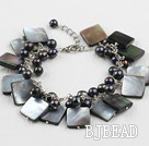 black pearl and lip shell bracelet with extendable chain