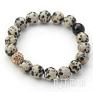 Gray Series 10mm Spots Stone and Rhinestone Beaded Stretch Bracelet