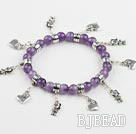 8mm faceted natural amethyst elastic bracelet with heart charms