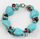 heart shape turquoise and crystal bracelet