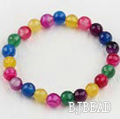 stretchy faceted 6mm candy color agate beaded bracelet