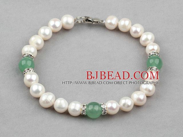 White Freshwater Pearl and Aventurine Bracelet with Rhinestone