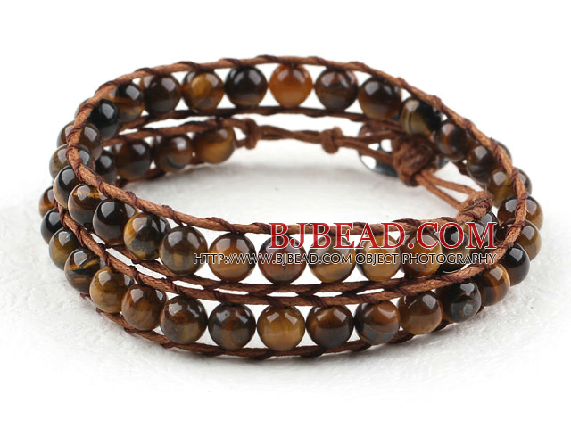 Two Rows Round Tiger Eye Woven Wrap Bangle Bracelet with Metal Clasp