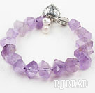 Faceted Light Color Amethyst Bracelet with Heart Shape Toggle Clasp