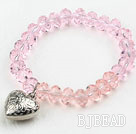 Simple Design Pink Crystal Elastic Bangle Bracelet under $ 40