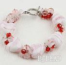 7.9inches heart shape colored glaze bracelet with toggle clasp under $5