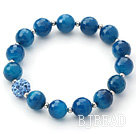 7.9 inches heart shape blue colored glaze bracelet with toggle clasp