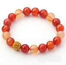 Orange Series 10mm Orange Color Agate and Rhinestone Beaded Stretch Bracelet