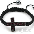 Sideway/Side Way Two Row Cross with Red Rhinestone Weaved Adjustable Drawstring Bracelet with Hematite Beads
