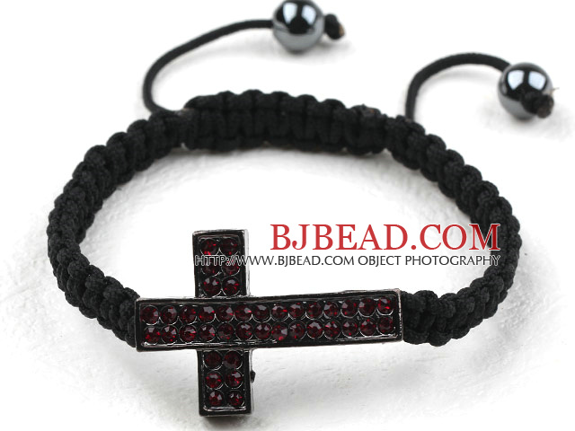 Sideway/Side Way Two Row Cross with Red Rhinestone Woven Adjustable Drawstring Bracelet with Hematite Beads