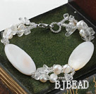 7.5 inches white  pearl and shell braclelet