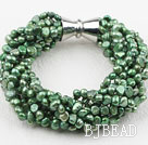 Multi Strands Green Freshwater Pearl Twisted Bracelet with Magnetic Clasp