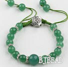 aventurine ball beaded bracelet with adjustable chain