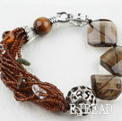 Assorted Tiger Eye and Smoky Quartz and Clear Crystal Bracelet with Lobster Clasp