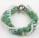 Multi Strand Freshwater Pearl and Aventurine Bracelet with Moonlight Clasp