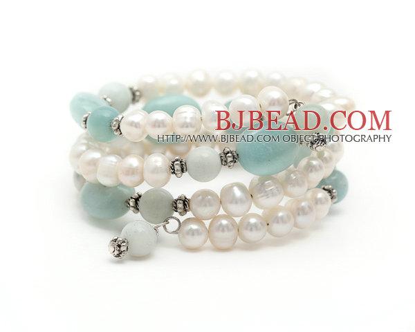 Blancas perlas de agua dulce del Amazonas y piedra Pulsera Envuelva