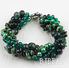 Multi Strand Deark Green Pearl Crystal and Ocean Agate Bracelet