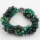 Multi Strand Deark Green Pearl Crystal and Ocean Agate Bracelet