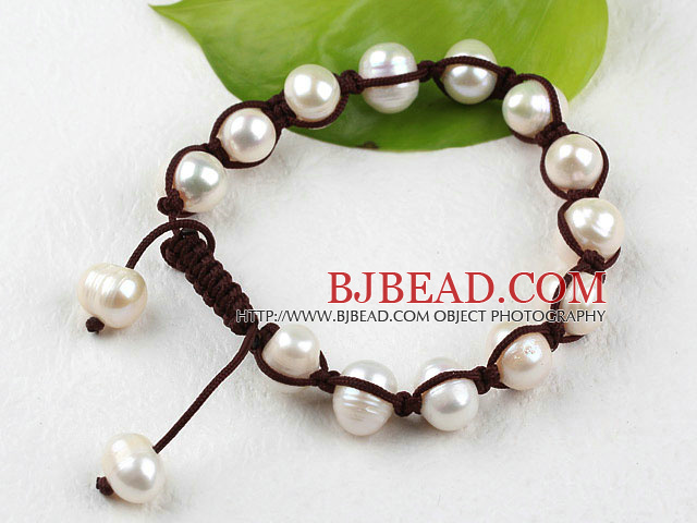New Design White Freshwater Pearl Woven Beaded Drawstring Ajustable Bracelet