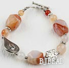 7.5 inches natural agate bracelet with toggle clasp