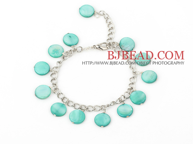 11mm green round shell bracelet with extendable chain