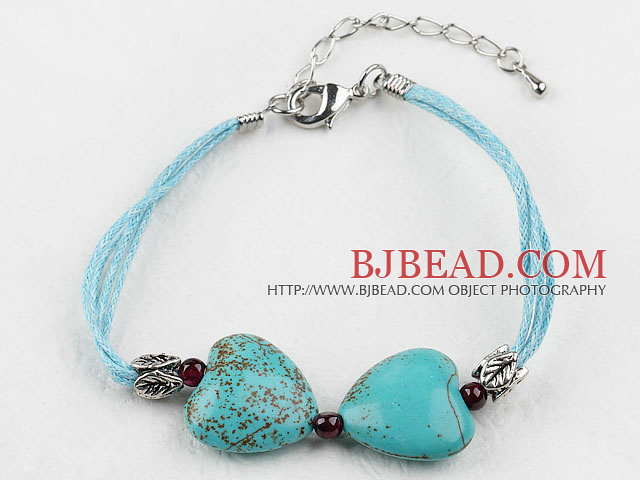 heart shape turquoise bracelet with extendable chain