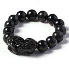 Amazing High Quality 14mm Hematite Beads with Rainbow Eye Stretchy Bracelet with Pi Xiu Accessory under $ 40