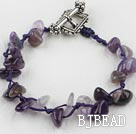 7.5 inches amethyst chips bracelet with toggle clasp under $ 40