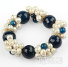 White Freshwater Pearl and Faceted Blue Agate Stretch Bangle Bracelet