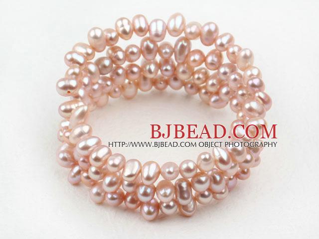 Natural Purple Freshwater Pearl Wrap Bangle Bracelet