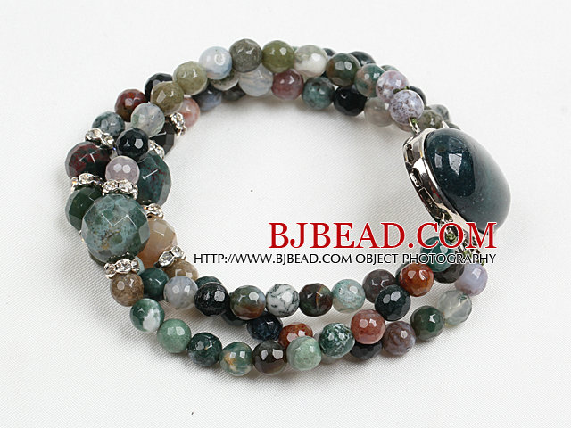 Fashion Three Strand Faceted Indian Agate Beads Bracelet