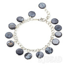 11mm black round shell bracelet with extendable chain