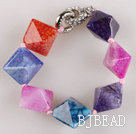 multi color 7.5 inches chunky style candy color rutilated agate bracelet