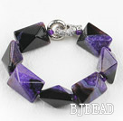 7.5 inches chunky style purple rutilated agate stone bracelet