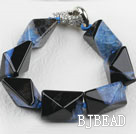 7.5 inches chunky style black and blue rutilated agate stone bracelet