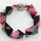 7.5 inches chunky style pink red rutilated agate bracelet under $12